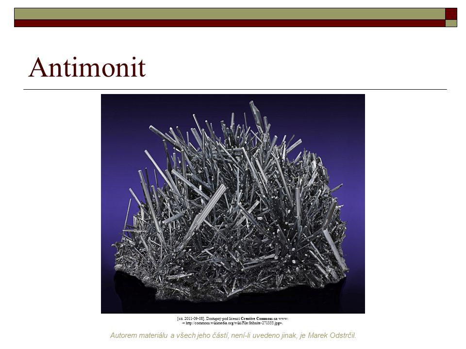 Antimonit [cit. 2011-09-08]. Dostupný pod licencí Creative Commons na www: < http://commons.wikimedia.org/wiki/File:Stibnite-271355.jpg>.